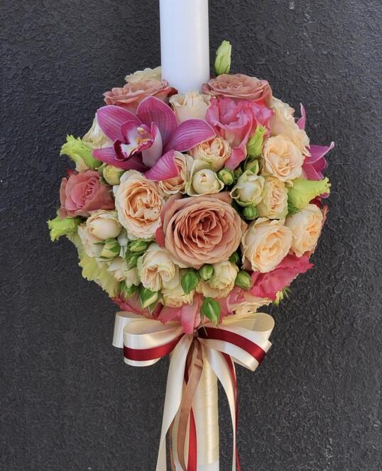 Lumanare de Botez cu Trandafiri si Orhidee