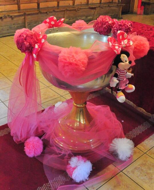 Decoratiune Cristelnita de Botez tema Minnie Mouse