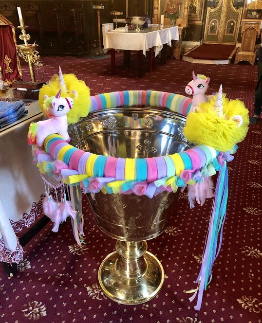 Decoratiune pentru Cristelnita de Botez Tematica Unicorn
