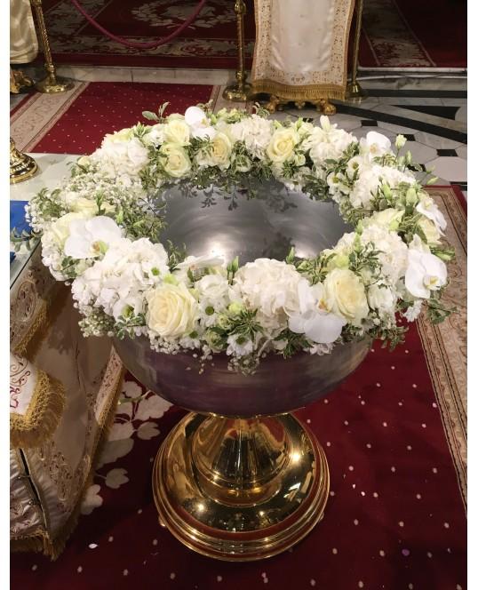 Decoratiune Cristelnita cu Flori Albe si Roz