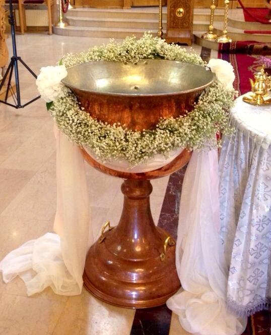 Decoratiune Cristelnita de Botez cu Floarea Miresei si Voal
