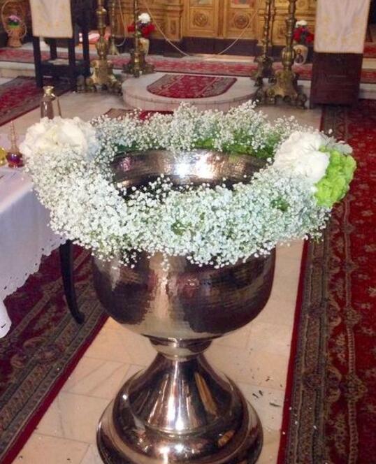 Decoratiune Cristelnita de Botez cu Floarea Miresei