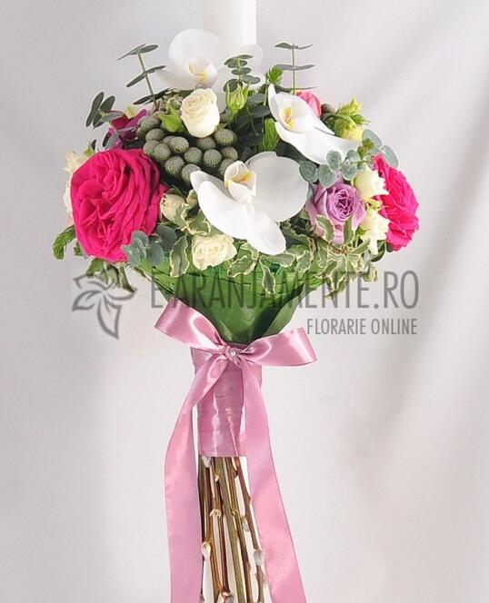 Lumanare de Botez cu Buchet de Orhidee si Trandafiri