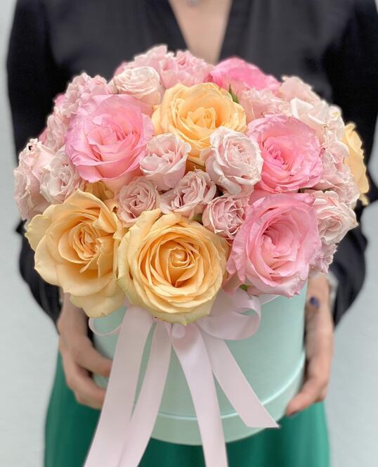 Cutie cu Trandafiri Roz & Peach