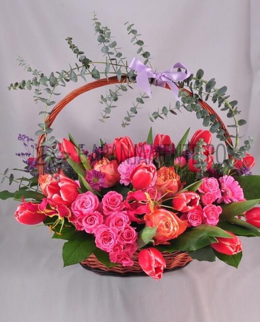 Cos cu Flori Roz