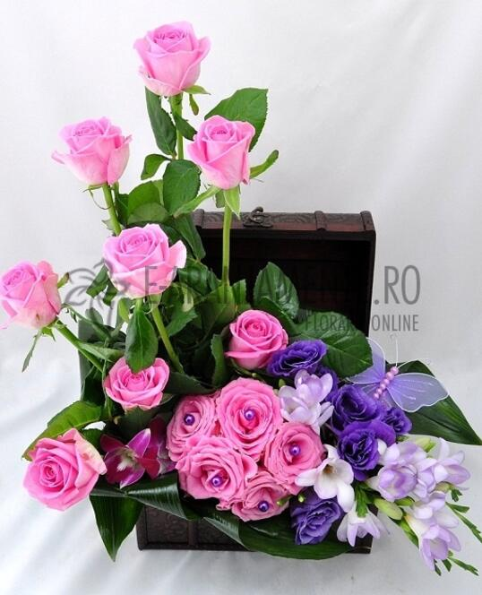 Cufar cu Flori Roz - Mov