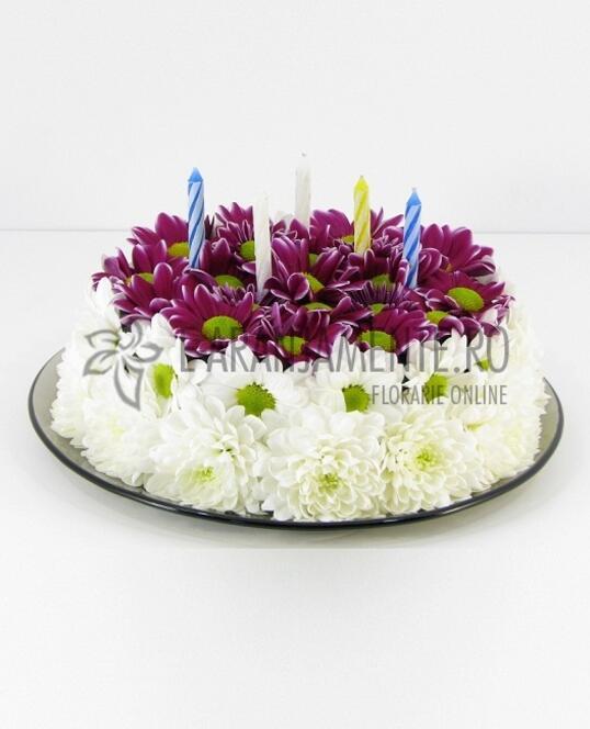 Tort din Flori cu Crizanteme Mov-Albe