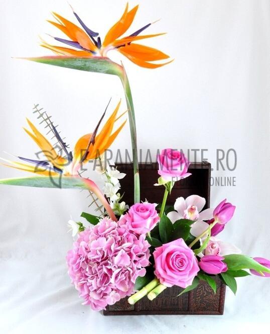 Cufar cu Flori Roz - Portocalii