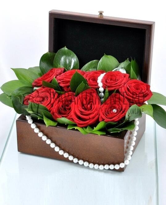 Cufar 9 Trandafiri Rosii