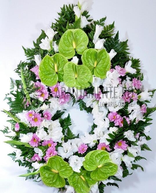 Coroana Funerara Rosu-Verde