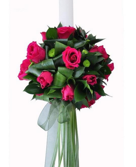 Lumanare de Cununie cu Trandafiri si Verdeata